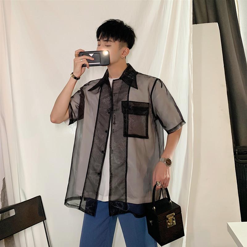新款自制性感透明半袖衬衫男时尚欧根纱短袖外套A452--1925--P65
