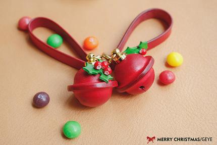 革也GEYE 纯手工皮具定制 皮铃铛 圣诞礼物系列 圣诞姊妹铃铛