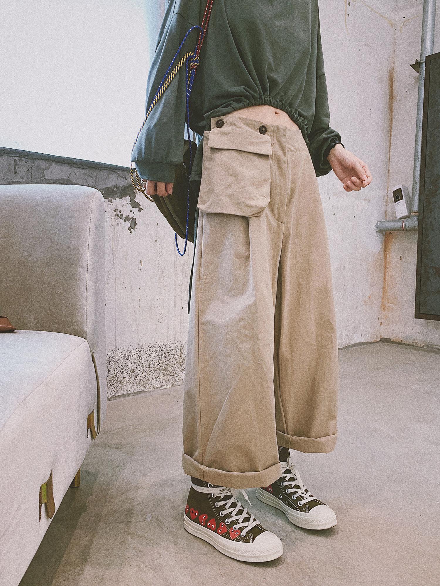 甜心家 口袋工装阔腿九分裤 宽松高腰休闲直筒裤女装2019新款夏装