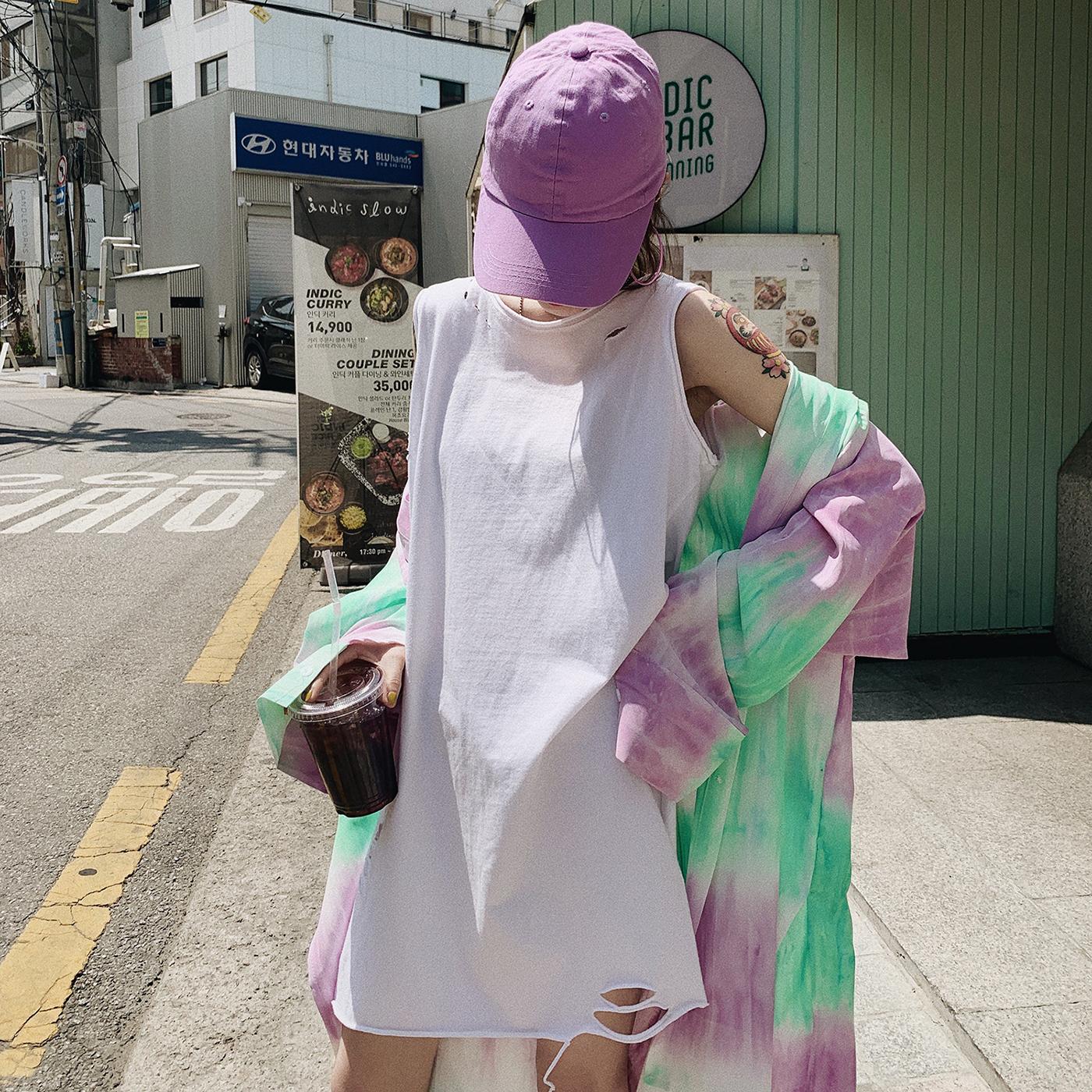 甜心家 纯色破洞背心打底衫 宽松中长款无袖吊带女装2019新款夏季