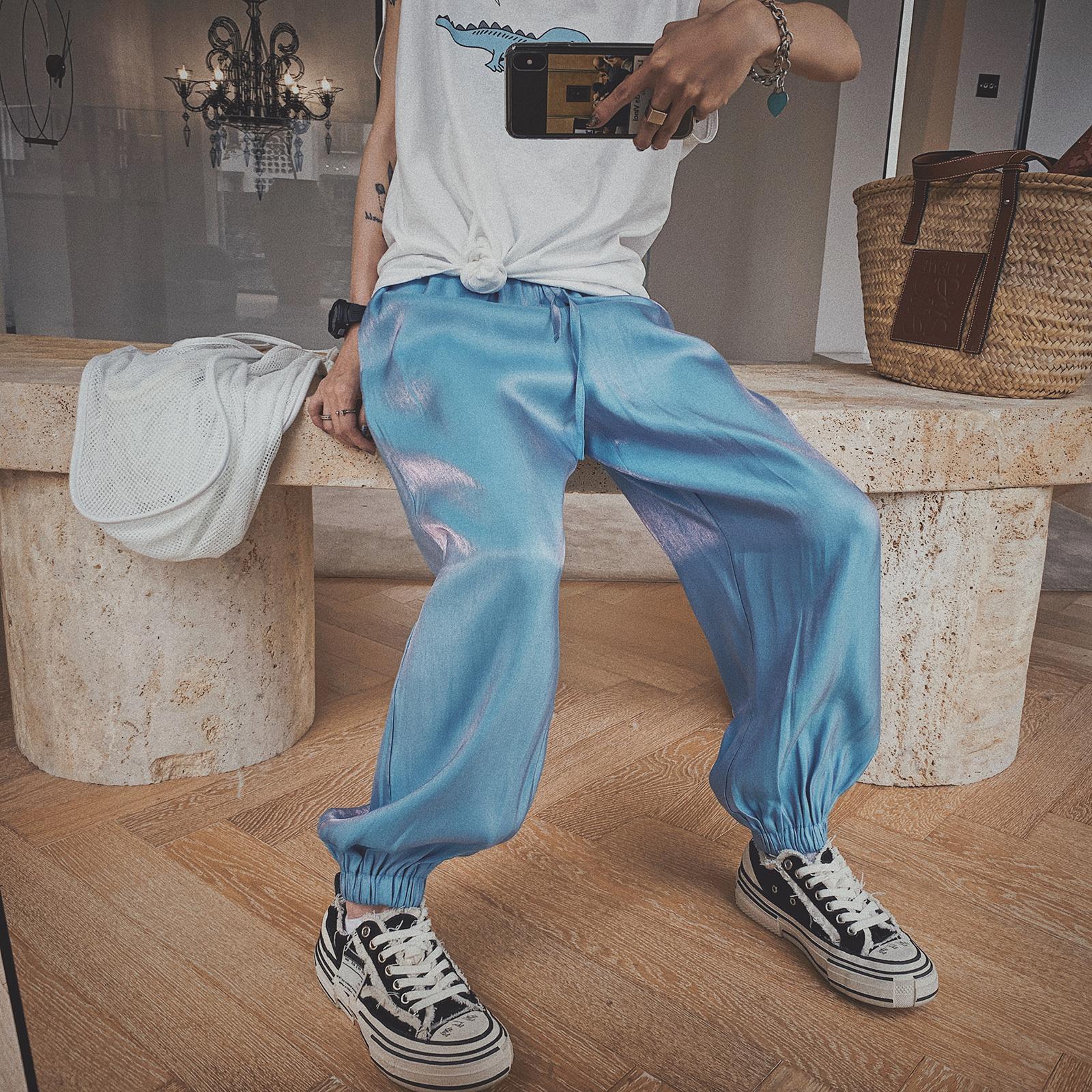 甜心家 嘻哈镭射宽松小脚收口运动裤薄款女装潮BF风2019夏装新款
