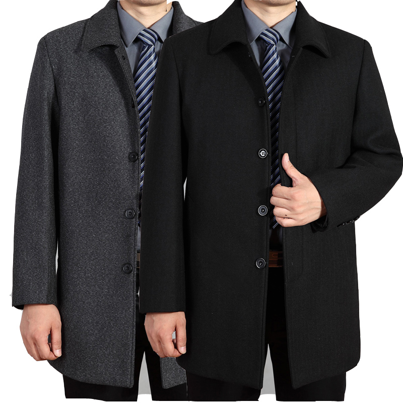 Middle aged and old mens woolen coat medium long woolen cloth large and thickened middle-aged windbreaker fathers autumn and winter coat