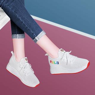 内增高女鞋2020春季新款百搭网面休闲运动鞋女平底透气轻便跑步鞋