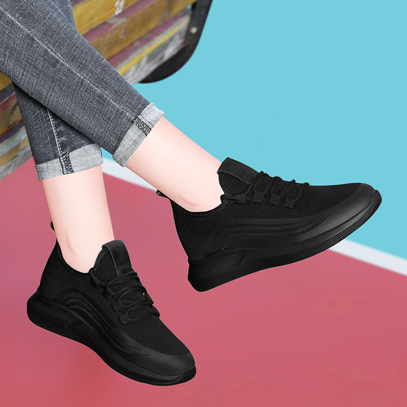 New round head wide shoes flat bottom low top shoes mesh lace up sports light single shoes womens shoes in spring and autumn of 2019
