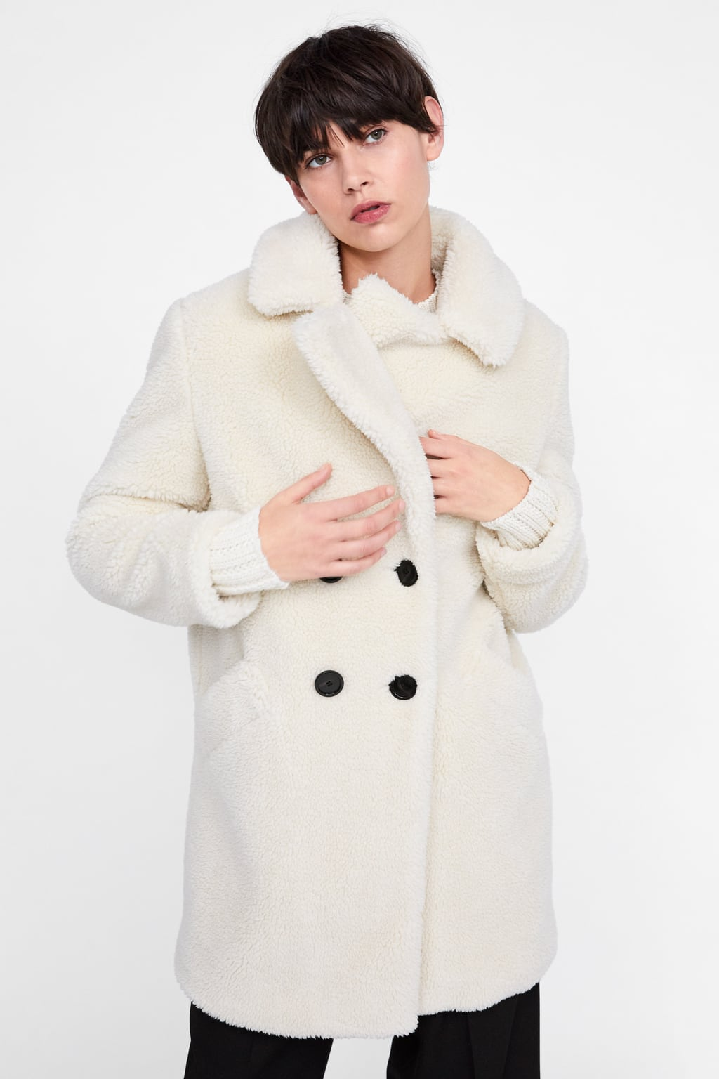 Spain Za fur one piece jacket long lamb coat coat loose and enlarged Korean version warm and thick