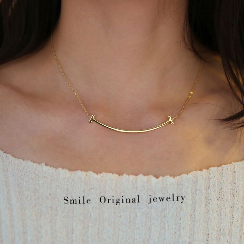 Do not fade advanced sense 18K Gold smile Necklace Women Short sweater chain neck chain net red ins clavicle chain