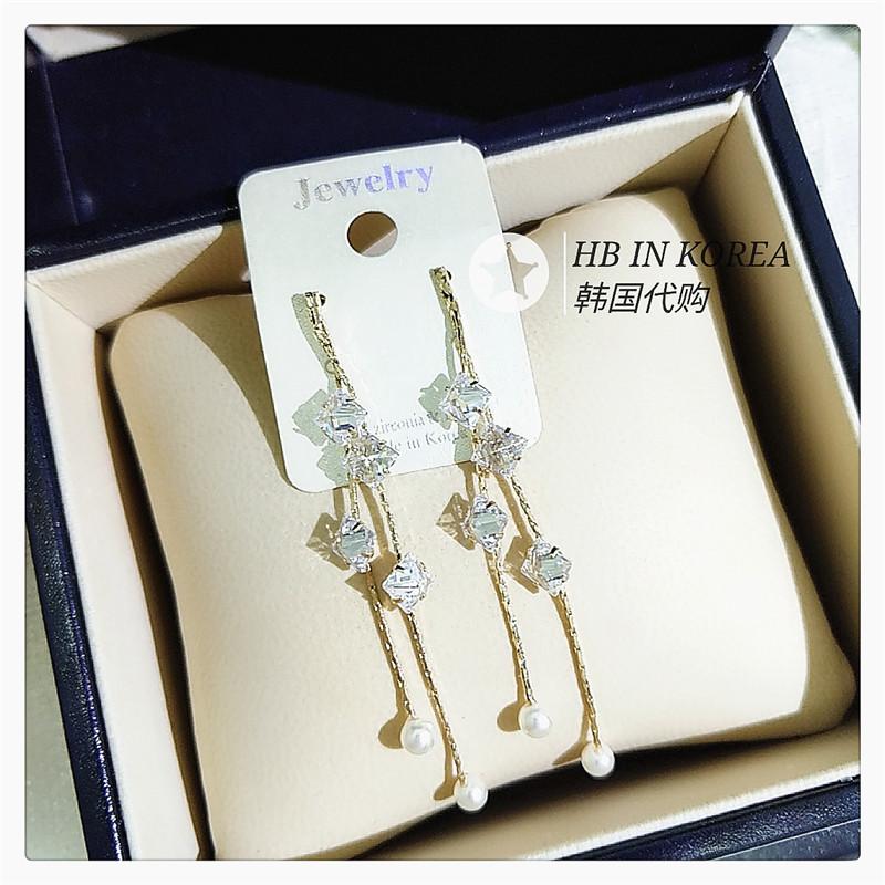 South Korea imports super fairy super shiny zirconium square diamond tassel Pearl Earrings
