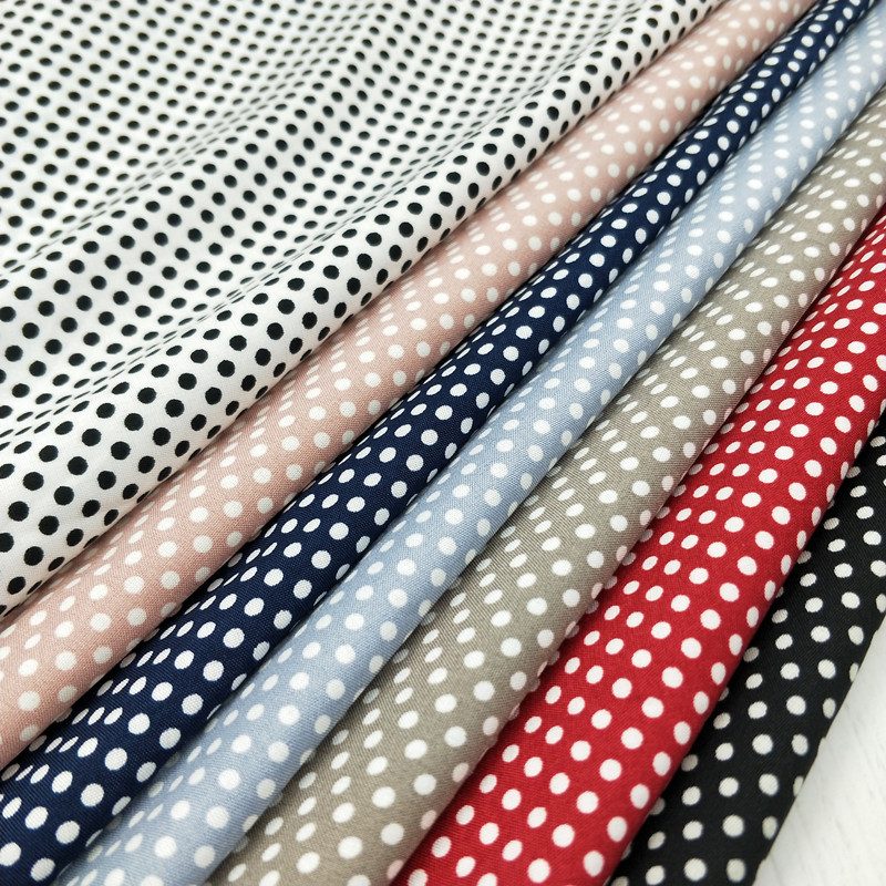 Parcel post small round dot wave dot impervious printing Korean textile thick and soft fabric dress wide leg pants fabric