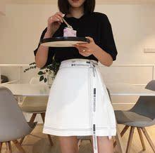 2017夏季新款韩版网红百搭修身织带显瘦纯色高腰半身裙A字裙女潮
