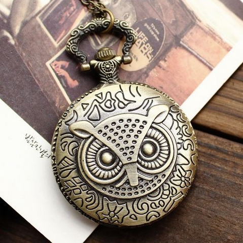 Classic retro covered owl large pocket watch male and female student watch bronze commemorative gift Pocket Watch