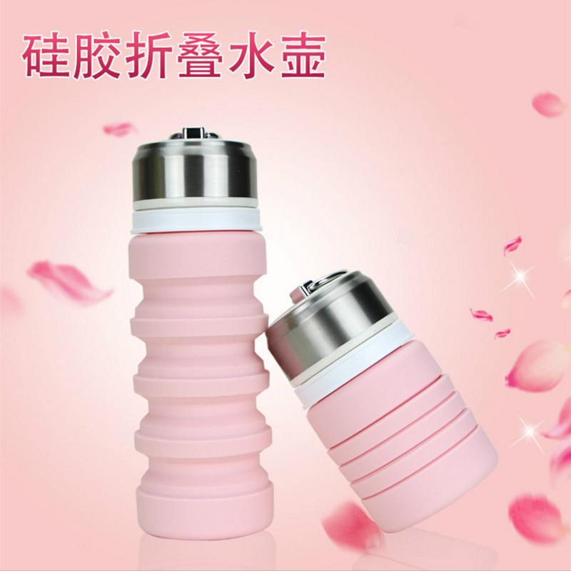 户外硅胶折叠水杯大容量多功能运动便携式水壶可伸缩压缩旅行杯