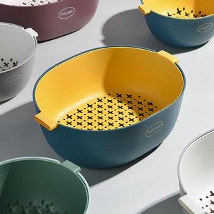 双层沥水篮家用网红水果盘厨房洗菜盆客厅塑料淘菜筐收纳菜篮子