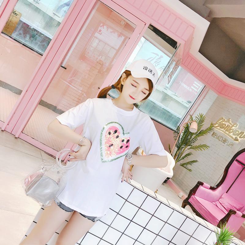 娃娃家实拍 2018夏季新款 韩版时尚女装 亮片西瓜T恤 潮Y36