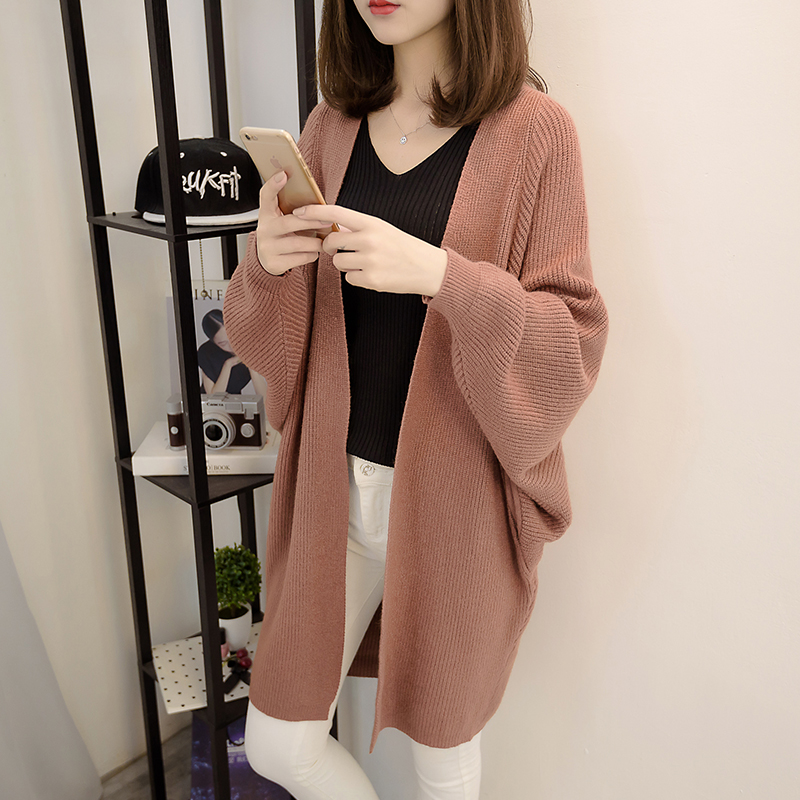2021 spring and autumn Korean version of Harajuku style long knitted cardigan with versatile thin loose coat and sweater for women