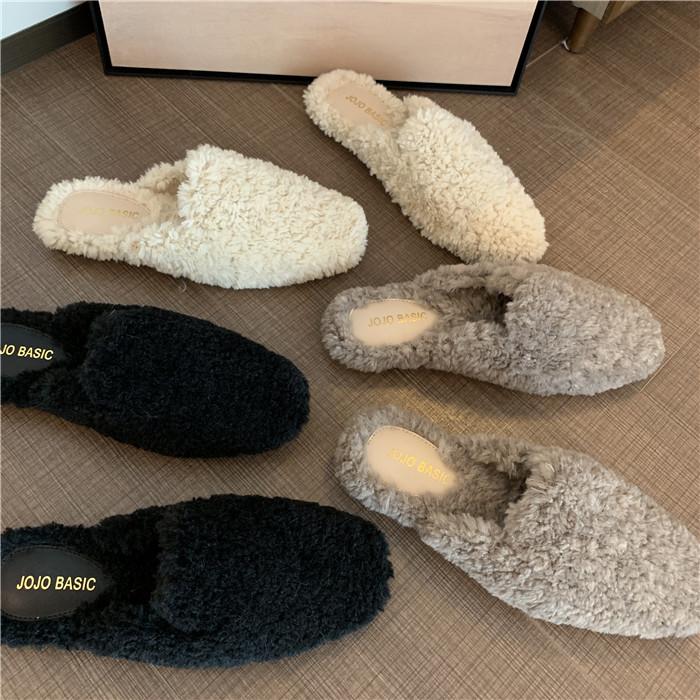 羊羔毛百搭厚实半拖鞋女chic秋冬新款韩版超2019店主回馈款毛毛鞋