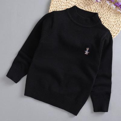秋冬童裝男女童寶寶黑色打底衫小中童半高領純色小童針織毛衣包郵