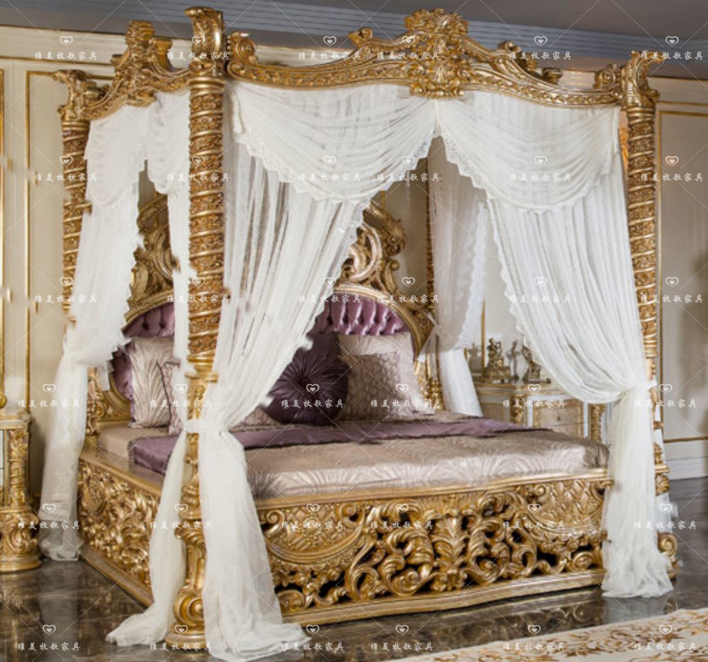 Italian hollow carved solid wood bed hand carved 1.82.2 Mira buckle master bedroom villa can be customized wedding bed