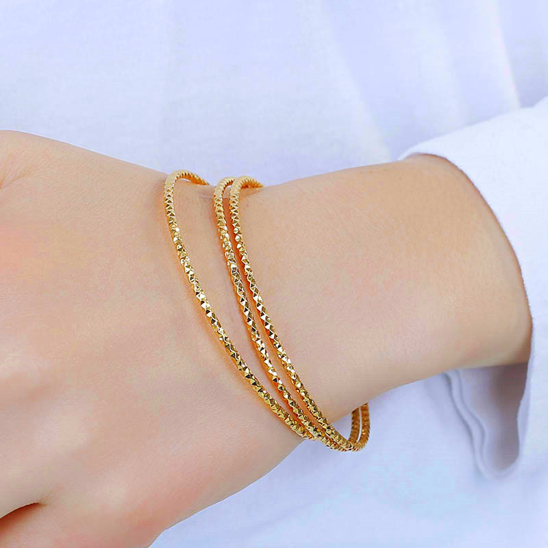 Vietnam gold bracelet female 24K pure gold plated jewelry Sansheng III genuine 999 gold bracelet does not fade for a long time