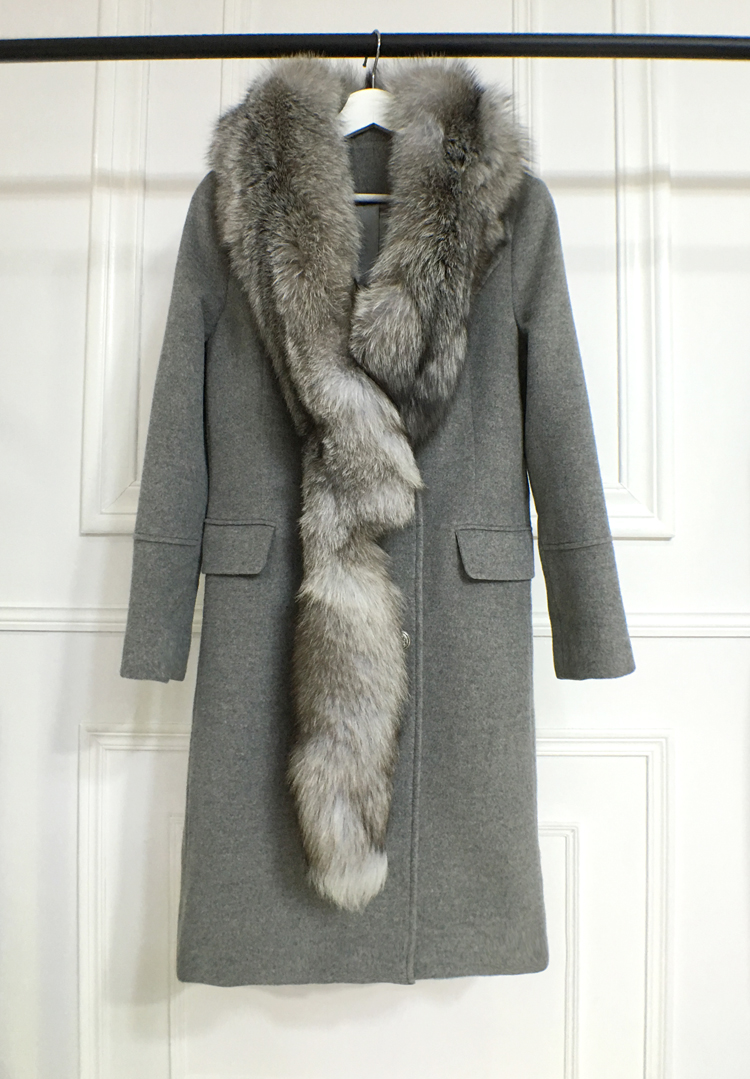 Shu82 autumn / winter new detachable large fox neck collar mid length slim looking wool coat coat