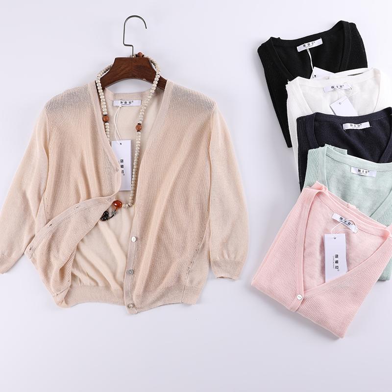 针织衫女开衫2018夏季短款长袖韩版冰丝外搭披肩薄防晒外套空调衫