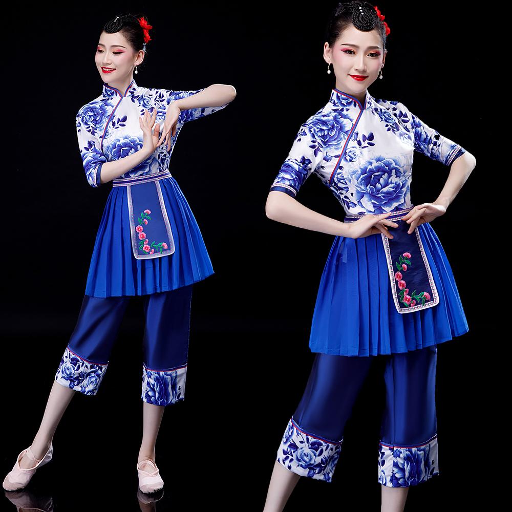 菲凡新娘2019新款村姑成人表演采茶舞表演舞蹈服装斗笠民族舞台服