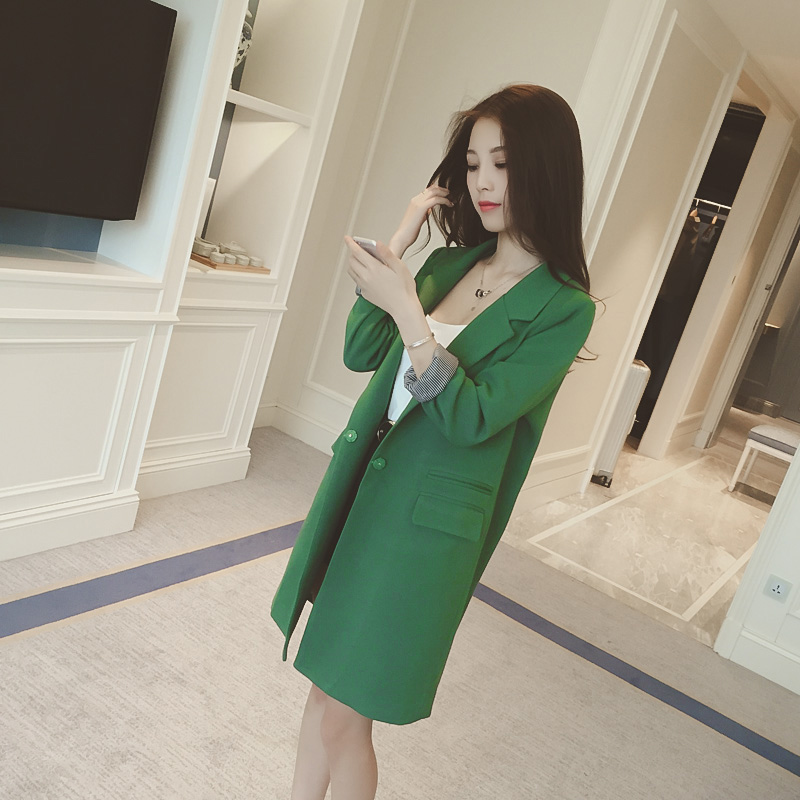 Small suit coat womens middle long 2021 spring and Autumn New Korean version split slim fit casual fashion small suit