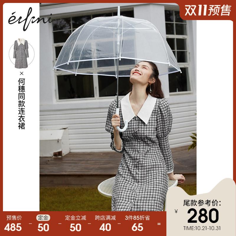 【双十一预售】何穗同款伊芙丽泡泡袖连衣裙2020年新款春秋格子裙
