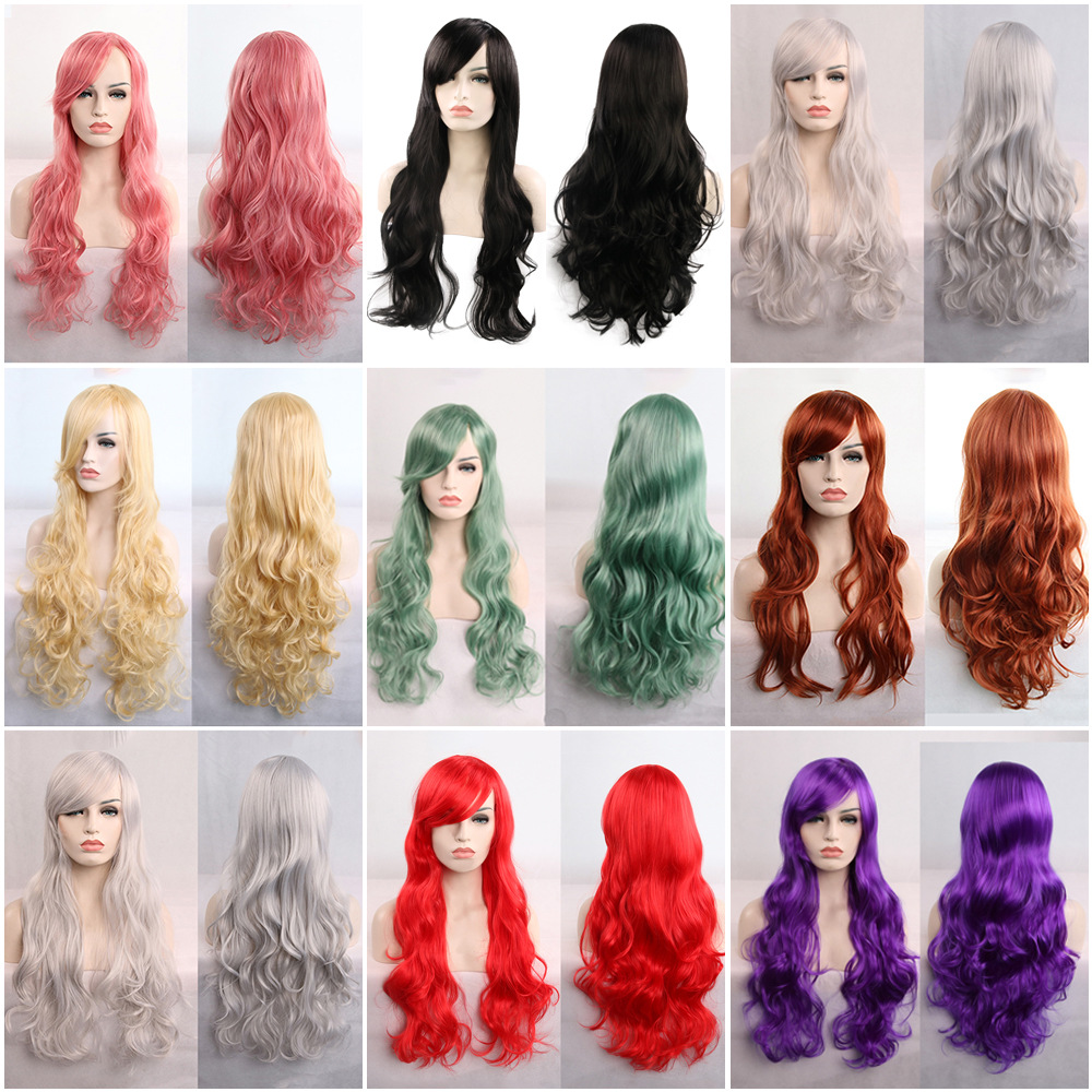 Animation wig popular in Europe and America multi color 80cm long curly hair play role play other wigs