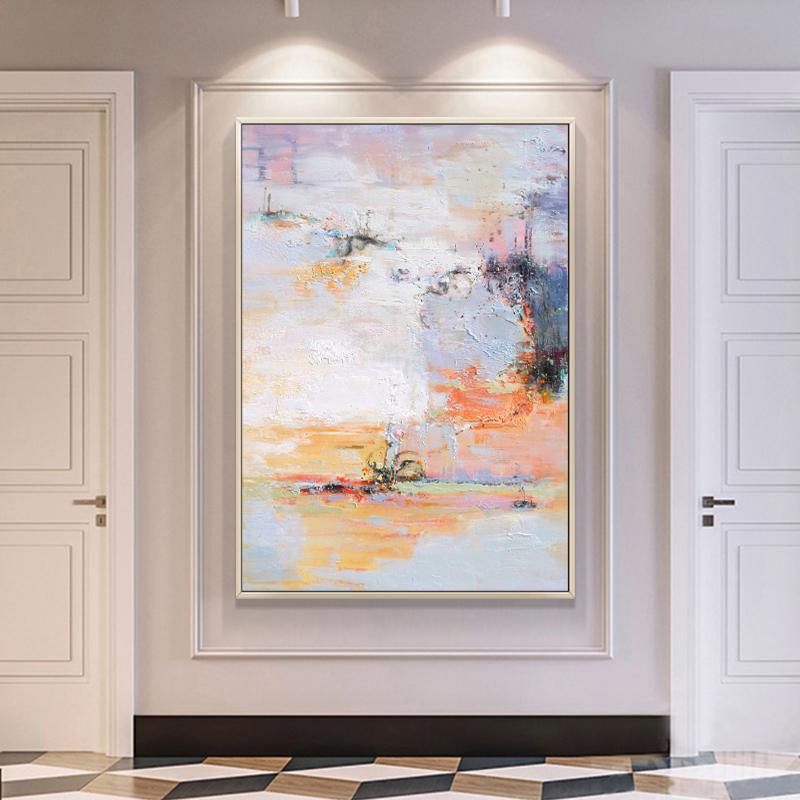 纯手绘抽象油画现代简约玄关挂画