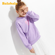 Balabala girl's sweater 2020 new spring clothing middle and big children's top children's hooded printing sweet trend