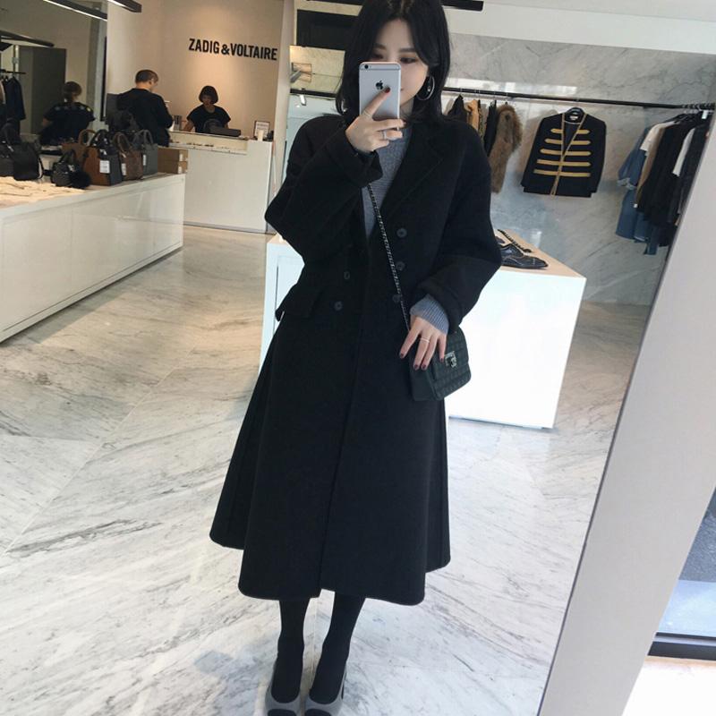 Большой двор шерстяные пиджак женщина жир mm2017 новый осень и зима 200 цзин, единица измерения веса длина тонкий талия шерстяной пальто