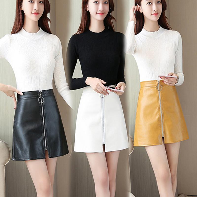 皮裙女2021春秋季高腰修身显瘦A字半身裙黑色包臀一步裙短裙女