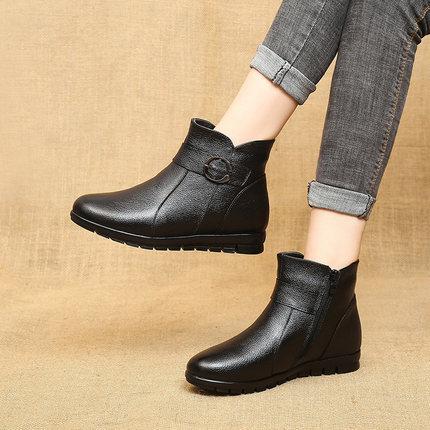 中老年人皮鞋女软底真皮防滑妈妈舒适平底春秋季冬天加绒奶奶棉鞋