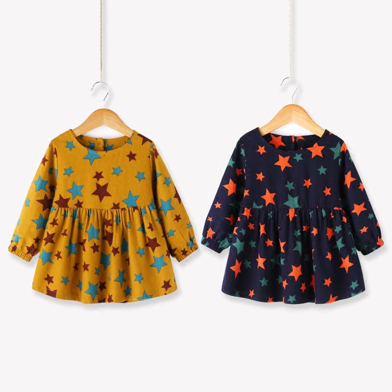 Ребятишки осеняя модель платье осень ребенок звезда длинный рукав платье в цветочек 123456 лет ребенок осень платье принцессы сын