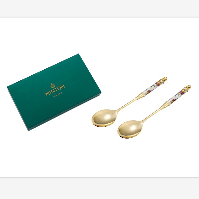 现货 日本进口Wedgwood Minton明顿骨瓷镀金咖啡勺子哈顿系礼盒装