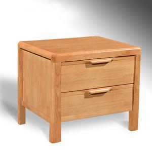 实木床头柜 橡木床头收纳柜 海棠原木色床边柜 储物柜 整装