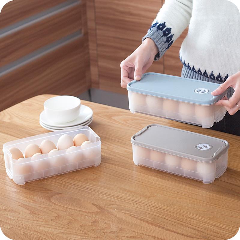 其是家 鸡蛋收纳盒 食物冰箱用保鲜盒塑料透明防震装蛋架蛋托蛋格