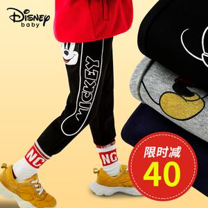 迪士尼童装米奇男童裤子春秋款小童宝宝卡通加绒儿童运动工装裤潮
