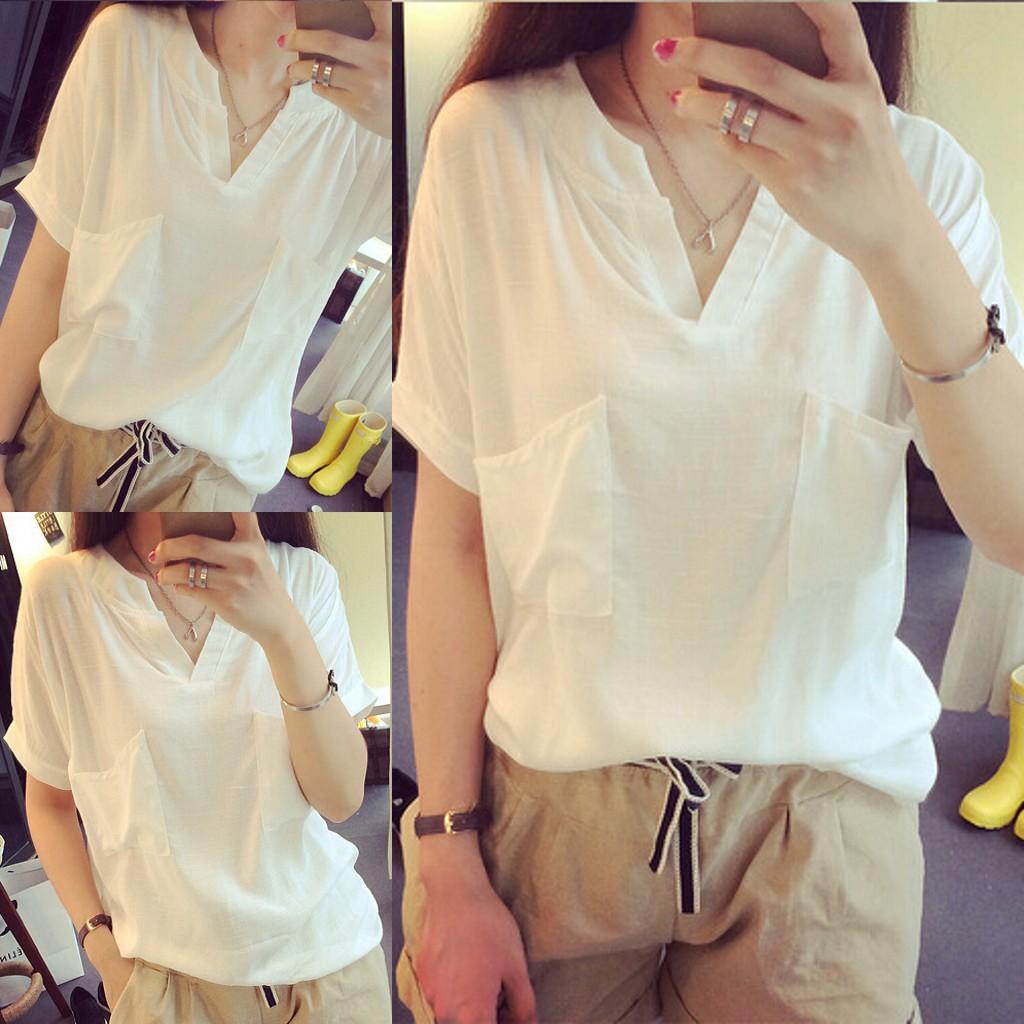 夏季棉麻衬衫短袖亚麻女装上衣 森女布衣宽松麻料衬衣衫女