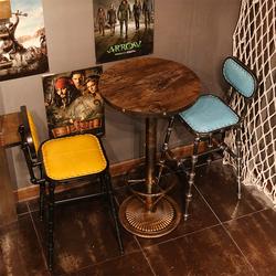 复古铁艺实木咖啡桌圆高餐厅吧台桌