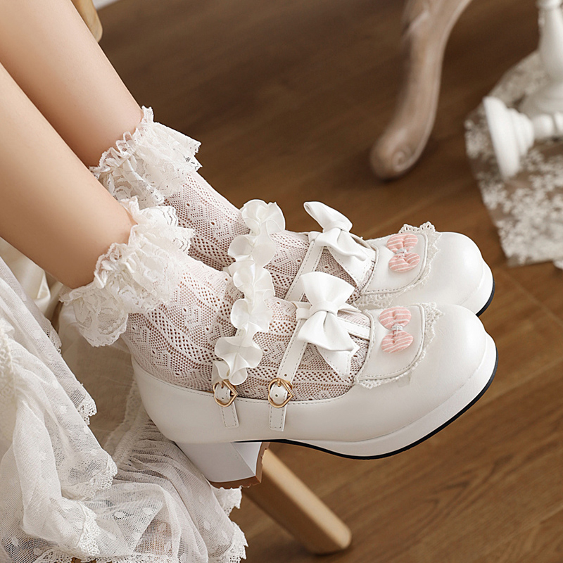 Japanese soft girl sweet high heels girl thick heel shoes 2021 spring and autumn new middle heel Lolita student lady
