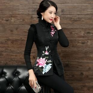 民族風復古旗袍唐裝上衣女士冬新款中式繡花修身背心馬夾棉馬甲