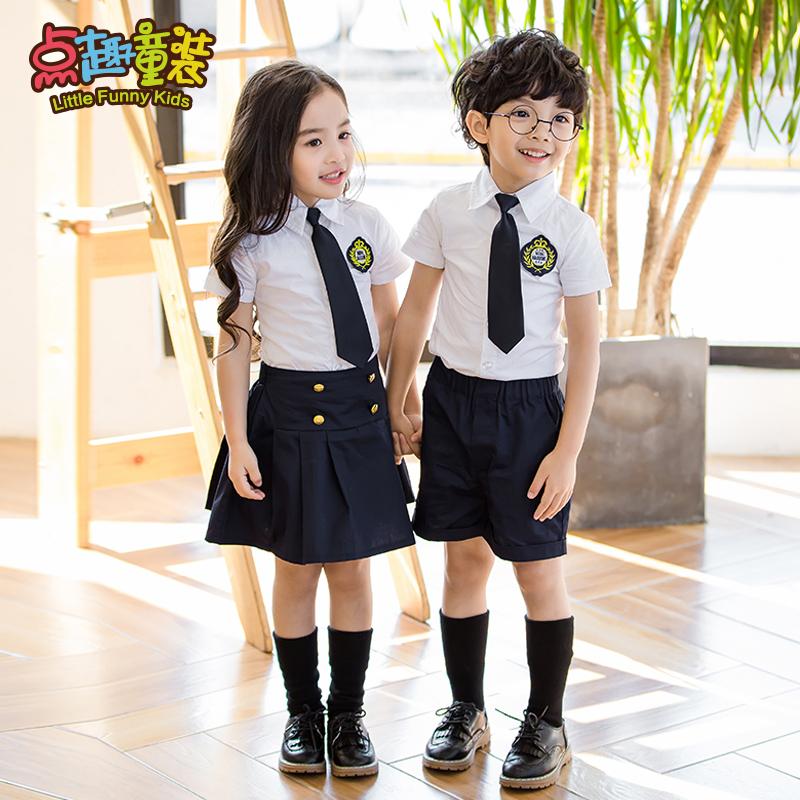 幼儿园园服夏装儿童英伦学院风校服短袖套装韩国小学生新款班服