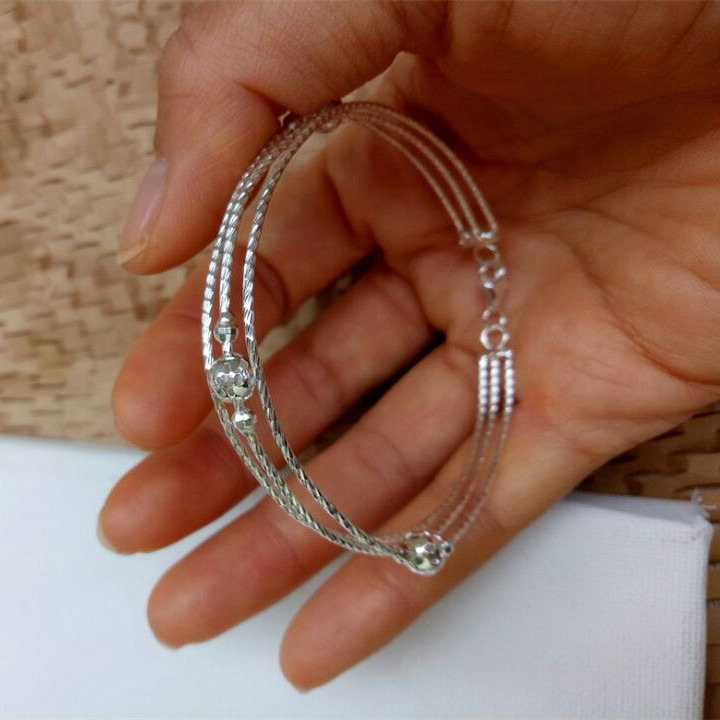 Qihao silver S925 Sterling Silver Bracelet womens large multi ring multi-layer transfer bead bracelet thin thread personality thick wrist fashion