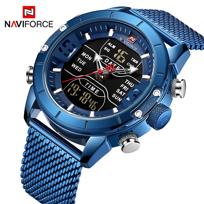 Naviforce led mens multi-functional dual display LED stainless steel mesh with alarm clock countdown waterproof wrist watch