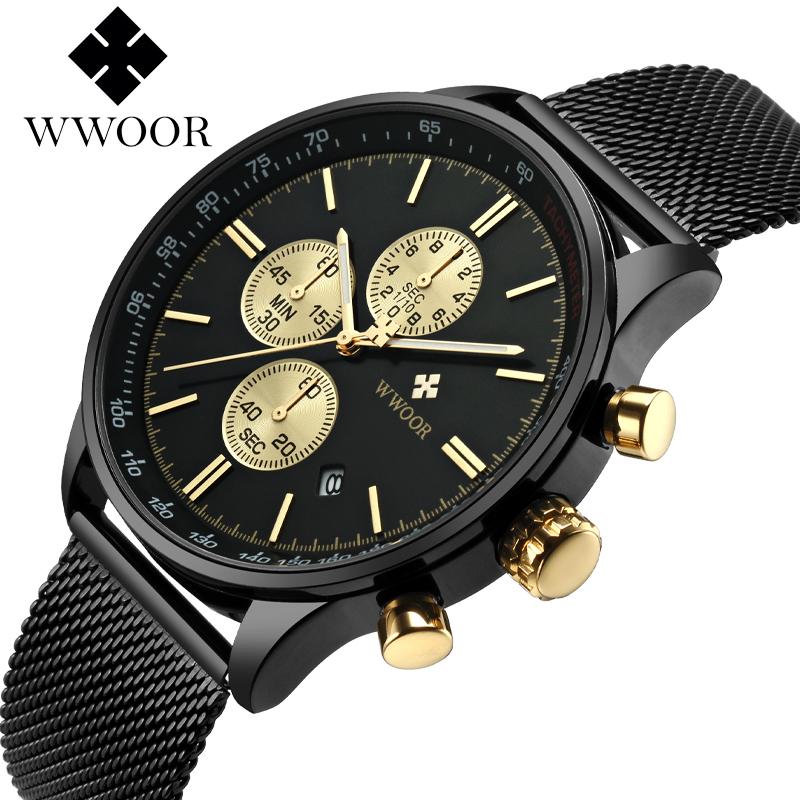 Wwoor holding love ultra thin simple mens and womens stainless steel mesh stopwatch luminous waterproof quartz watch calendar wrist watch