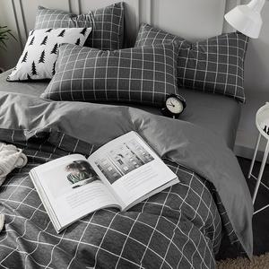 北欧四件套100全棉纯棉简约现代床单被套单人宿舍三件套床上用品4