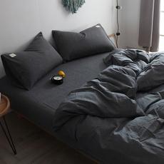 北欧风水洗棉四件套全棉纯棉简约现代被子被套床单三件套床上用品