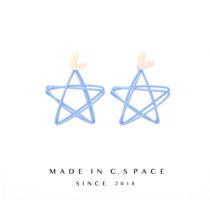 镂空五角星蓝色超仙耳环耳饰耳夹无耳洞女cspace修饰脸型