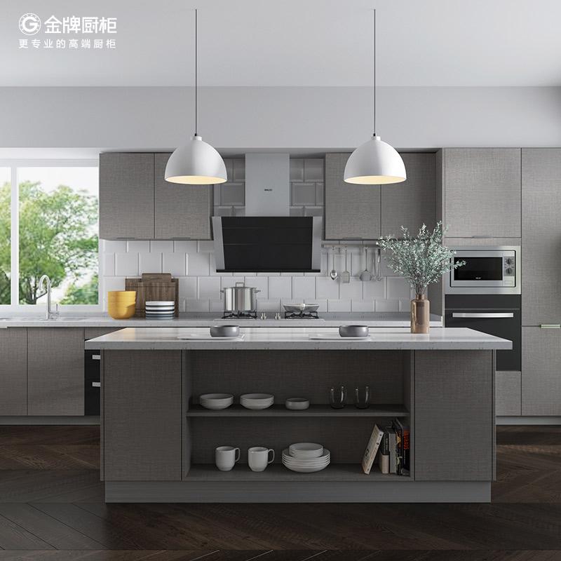 金牌厨柜整体橱柜定做枫之木语2雅灰整体厨柜定制厨房橱柜装修